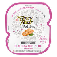Fancy Feast Cat Food, in Gravy, Seared Salmon Entree with Spinach, 2 Each