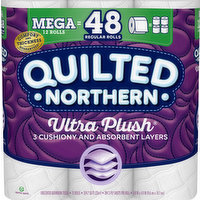 Quilted Northern Bathroom Tissue, Unscented, Mega Rolls, Ultra Plush, 3-Ply, 12 Each