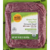 Wild Harvest Beef, Ground, Grass Fed, 85% Lean/15% Fat, 16 Ounce