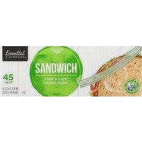 Essential Everyday Sandwich Bags, Double Zipper, 45 Each