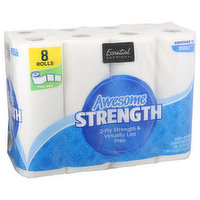 Essential Everyday Paper Towels, Awesome, 2-Ply Strength, Virtually Lint Free, Full Size, 8 Each
