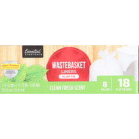 Essential Everyday Wastebasket Liners, Flap Tie, Clean Fresh Scent, 8 Gallon, 18 Each