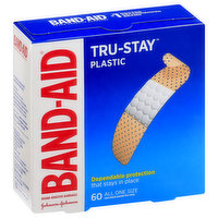 Band-Aid Bandages, Plastic, All One Size, 60 Each