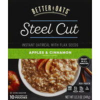 Better Oats Oatmeal, Instant, Steel Cut, with Flax Seeds, Apples & Cinnamon, 12.3 Ounce