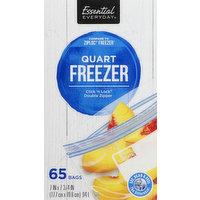 Essential Everyday Freezer Bags, Double Zipper, Quart, 65 Each