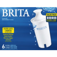 Brita Replacement Filters, Standard, Value Pack, 6 Each