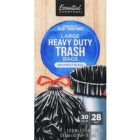 Essential Everyday Trash Bags, Heavy Duty, Drawstring, Large, 30 Gallon, 28 Each