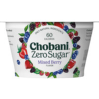 Chobani Yogurt, Zero Sugar, Mixed Berry Flavor, 5.3 Ounce