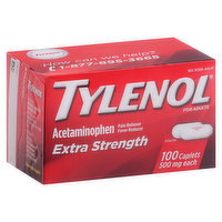 Tylenol Acetaminophen, Extra Strength, 500 mg, for Adults, Caplets, 100 Each