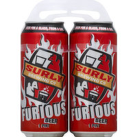 Beer for a class, from a can. Fresh beer, keep it cool! Get surly! A tempest on the tongue, or a moment of pure hop bliss? Brewed with a dazzling blend of American hops and Scottish malt, this crimson-hued ale delivers waves of citrus, pine and caramel-toffee. For those who favor flavor, Furious has the hop-fire your taste buds have been screaming for. www.surlybrewing.com. Brewed and canned by Surly Brewing Company. Alc. 6.6% by vol.