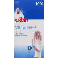 Mr. Clean Gloves, Disposable, Vinyl, One Size Fits All, 100 Each