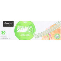 Essential Everyday Sandwich Bags, Click 'n Lock Double Zipper, Extra Large, 30 Each