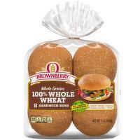 Brownberry 100% Whole Wheat Sandwich Buns, 8 Ounce