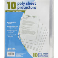 BETTER OFFICE PRODUCTS Protectors, Poly Sheet, Economy Weight, 10 Each
