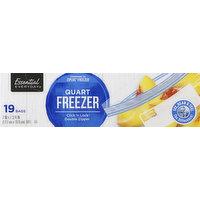 Essential Everyday Freezer Bags, Double Zipper, Quart, 19 Each