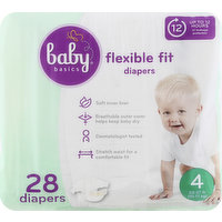 Baby Basics Diapers, 4 (22-37 lb), Flexible Fit, 28 Each