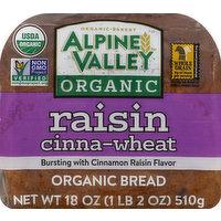 Alpine Valley Bread, Organic, Raisin Cinna-Wheat, 18 Ounce