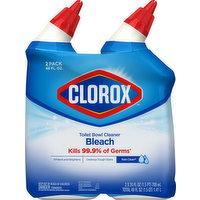 Clorox Toilet Bowl Cleaner, Bleach, Rain Clean, 2 Pack, 2 Each