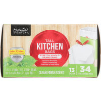 Essential Everyday Tall Kitchen Bags, Stretch 'N Hold Drawstring, Clean Fresh Scent, 13 Gallon, 34 Each