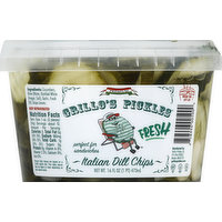 Grillo's Pickles Pickles, Italian Dill, Chips, 16 Ounce