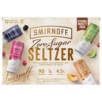 Smirnoff Seltzer, Assorted, Zero Sugar, Variety Pack, 12 Each