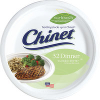 Chinet Plates, Dinner, Classic White, 32 Each