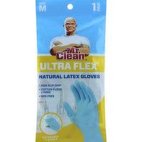Mr. Clean Gloves, Natural Latex, Ultra Flex, Size M, 1 Each