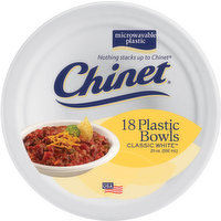 Chinet Plastic Bowls, Classic White, 20 Ounce, 18 Each