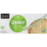 Essential Everyday Sandwich Bags, Click 'n Lock, Double Zipper, 90 Each