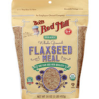 Bobs Red Mill Flax Seed Meal, Organic, Whole Ground, 16 Ounce
