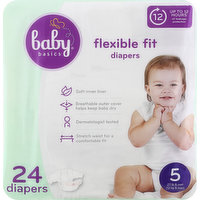 Baby Basics Diapers, Flexible Fit, 5, 24 Each