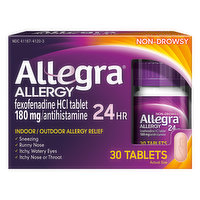 Allegra Allergy, 180 mg, Non-Drowsy, Tablets, 30 Each