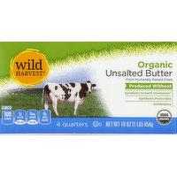 Wild Harvest Butter, Organic, Unsalted, 16 Ounce