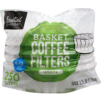 Essential Everyday Coffee Filters, Basket, White, 250 Each