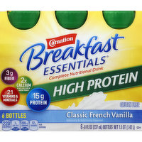 Carnation Complete Nutritional Drink, High Protein, Classic French Vanilla, 6 Each