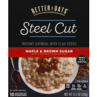 Better Oats Oatmeal, Instant, Steel Cut, with Flax Seeds, Maple & Brown Sugar, 15.1 Ounce