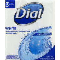 Dial Soap, Deodorant, White, Antibacterial, 3 Each