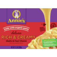 Annie's Pasta & Cheese Sauce, Shells & Four Cheese, Rich & Creamy, Deluxe, 11.3 Ounce