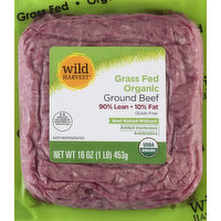 Wild Harvest Beef, Ground, Grass Fed, 90% Lean/10% Fat, 16 Ounce
