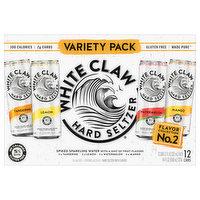 White Claw Hard Seltzer, Tangerine/Lemon/Watermelon/Mango, Spiked, Variety 18 Pack, 12 Each