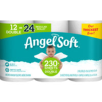Angel Soft Bathroom Tissue, Unscented, Double Rolls, 2-Ply, 12 Each