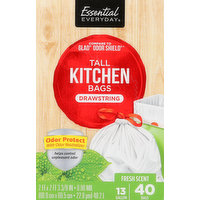 Essential Everyday Tall Kitchen Bags, Drawstring, Odor Protect, Fresh Scent, 13 Gallon, 40 Each