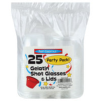 Party Essentials Shot Glasses & Lids, Gelatin, 2.5 Ounce, Party Pack, 25 Each
