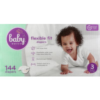 Baby Basics Diapers, Flexible Fit, 3 (16-28 lb), 144 Each