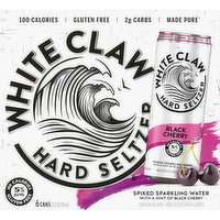 White Claw Hard Seltzer, Black Cherry, Spiked, 6 Pack, 6 Each