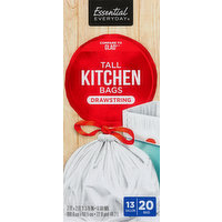 Essential Everyday Tall Kitchen Bags, Drawstring, 13 Gallon, 20 Each