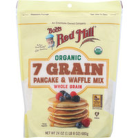 Bobs Red Mill Pancake & Waffle Mix, Organic, 7 Grain, 24 Ounce