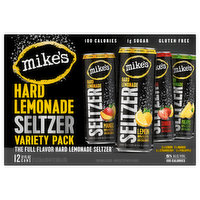 3x lemon. 3x mango. 3x strawberry. 3x pineapple. Contains alcohol - hard seltzer with flavors. 100 calories. 1 g sugar. Gluten free. Naturally gluten free. The full flavor hard lemonade seltzer. Nobody makes lemonade like Mike's. Our lemonade flavor is derived from handpicked lemons grown on family owned farms. Using a special cold pressed method, we extract even more lemon flavor to put into all our lemonades. Taste the difference. - Mike. Handpicked lemons. Cold pressed for more flavor. From family owned farms. Please drink responsibly. A strong opinion is hard to find. Give us your on: Facebook. Instagram. (hashtag)mikeshardlemonadeseltzer. Please recycle. Sustainable Forestry Initiative: Certified sourcing. www.sfiprogram.org. 5% alc/vol. 10