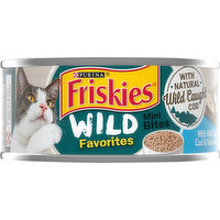 Friskies Cat Food, with Wild Caught Cod & Kale in Sauce, Mini Bites, 5.5 Ounce