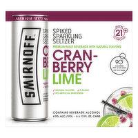 Smirnoff Sparkling Seltzer, Cranberry Lime, Spiked, 6 Each